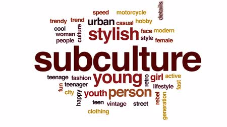 cultura juvenil : Subculture animated word cloud, text design animation.