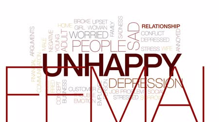 sosyal konular : Unhappy animated word cloud, text design animation. Kinetic typography.