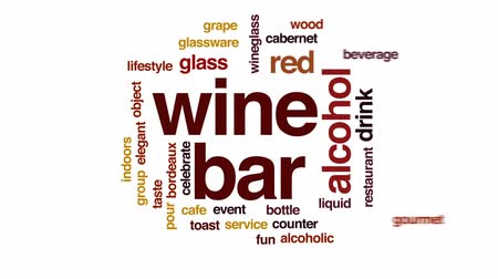 kırmızı şarap : Wine bar animated word cloud, text design animation. Stok Video