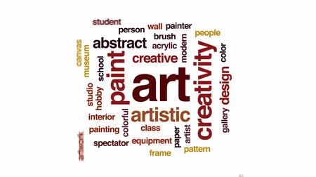 палитра : Art animated word cloud, text design animation.