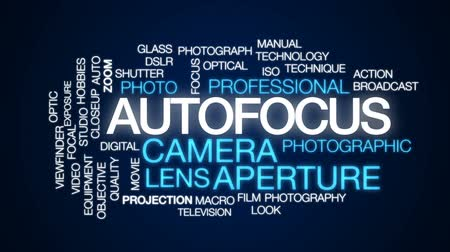 makro fotografie : Autofocus animated word cloud, text design animation.