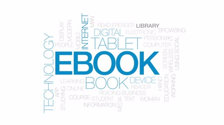 tabuleta digital : Ebook animated word cloud, text design animation. Kinetic typography.