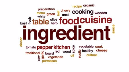 tomate cereja : Ingredient animated word cloud, text design animation. Stock Footage