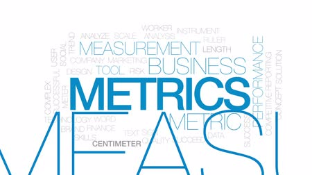 metrik : Metrics animated word cloud, text design animation. Kinetic typography. Stok Video