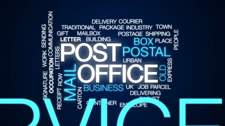 sending : Post office animated word cloud, text design animation.