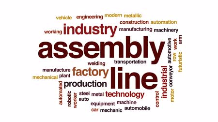automatyka : Assembly line animated word cloud, text design animation.