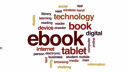 leitor : Ebook animated word cloud, text design animation. Vídeos