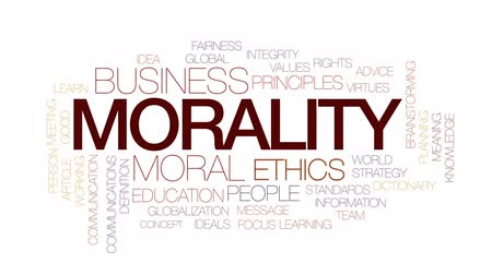 anlamı : Morality animated word cloud, text design animation. Kinetic typography.