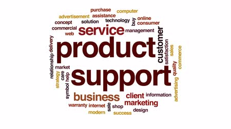 гарантия : Product support animated word cloud, text design animation. Стоковые видеозаписи
