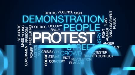rali : Protest animated word cloud, text design animation. Stock Footage