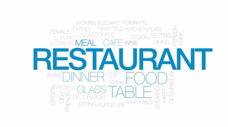 çatallar : Restaurant animated word cloud, text design animation. Kinetic typography.