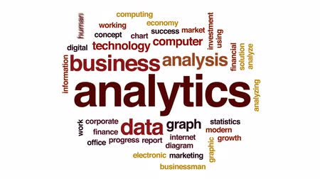 diagram : Analytics animated word cloud, text design animation. Stock Footage