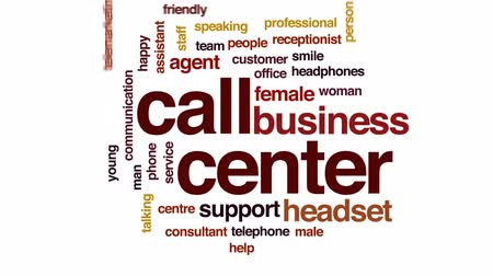 телемаркетинг : Call center animated word cloud, text design animation.