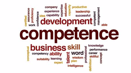 competence : Competence animated word cloud, text design animation.