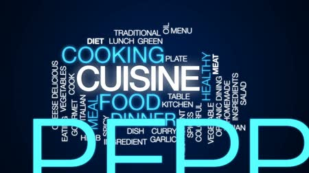 специи : Cuisine animated word cloud, text design animation. Стоковые видеозаписи