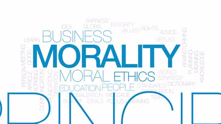 significado : Morality animated word cloud, text design animation. Kinetic typography.