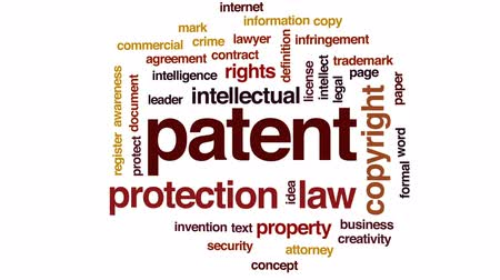 dokumentum : Patent animated word cloud, text design animation.