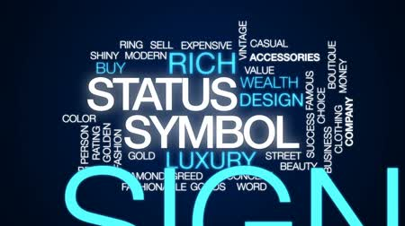 hodnocení : Status symbol animated word cloud, text design animation.