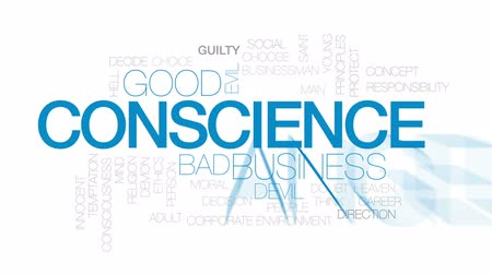 consciousness : Conscience design animated word cloud, text design animation. Kinetic typography.