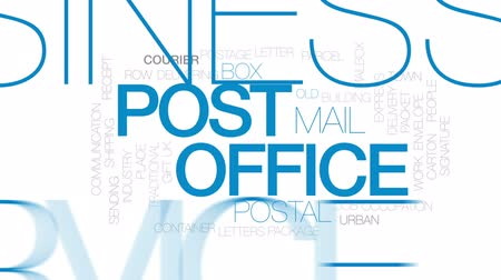 mailbox : Post office animated word cloud, text design animation. Kinetic typography. Stock Footage