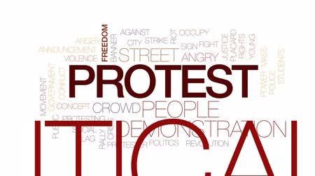 siyasi : Protest animated word cloud, text design animation. Kinetic typography. Stok Video