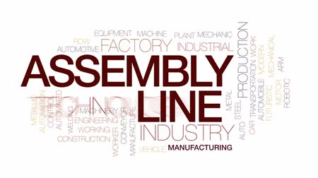 indústria : Assembly line animated word cloud, text design animation. Kinetic typography.