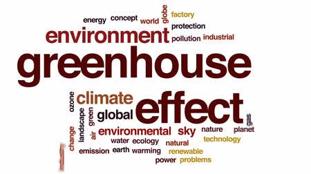 skleník : Greenhouse effect animated word cloud, text design animation.