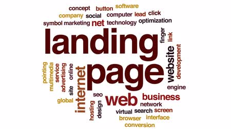optimize : Landing page animated word cloud, text design animation. Stock Footage
