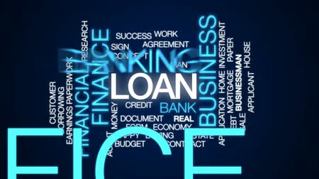 banking document : Loan animated word cloud, text design animation.