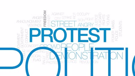 ocupação profissional : Protest animated word cloud, text design animation. Kinetic typography. Stock Footage