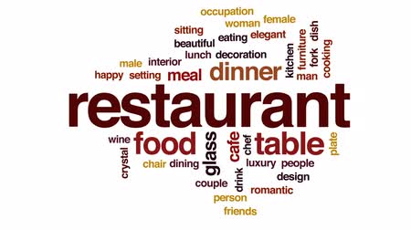 settings : Restaurant animated word cloud, text design animation.