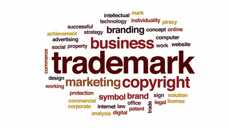 markalaşma : Trademark animated word cloud, text design animation. Stok Video