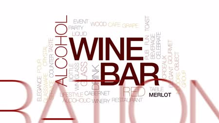 şarap kadehi : Wine bar animated word cloud, text design animation. Kinetic typography.