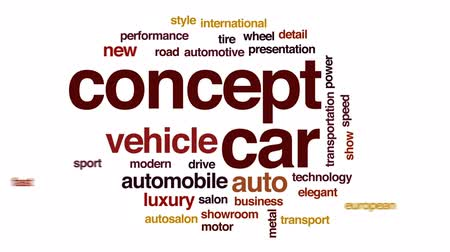 sala de exposição : Concept car animated word cloud, text design animation.