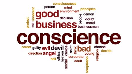 consciousness : Conscience design animated word cloud, text design animation. Stock Footage