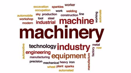 yükleyici : Machinery animated word cloud, text design animation.