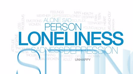 global iş : Loneliness animated word cloud, text design animation. Kinetic typography. Stok Video