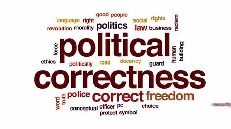 etyka : Political correctness animated word cloud, text design animation.