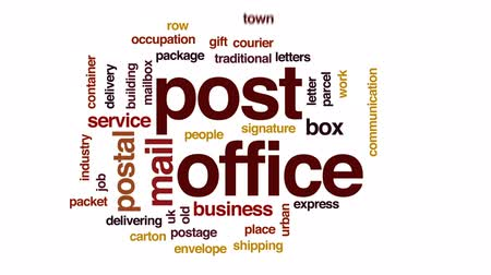 skrzynka pocztowa : Post office animated word cloud, text design animation.