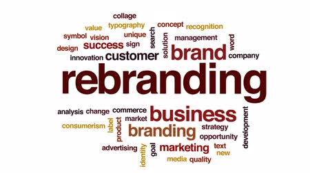 markalaşma : Rebranding animated word cloud, text design animation.
