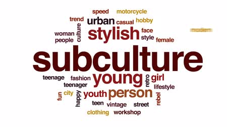 bez szwu : Subculture animated word cloud, text design animation.