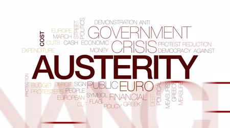 austerity : Austerity animated word cloud, text design animation. Kinetic typography.