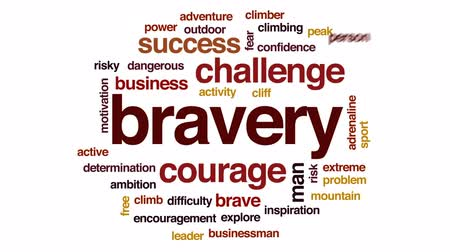 encouraging : Bravery animated word cloud, text design animation. Stock Footage