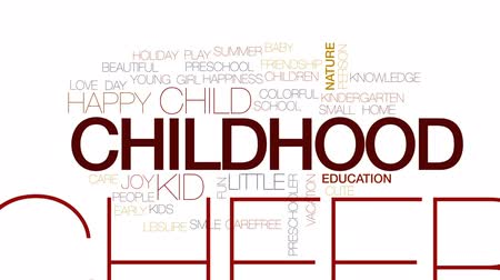 pré escolar : Childhood animated word cloud, text design animation. Kinetic typography.