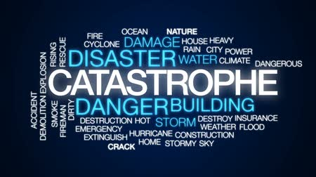 catástrofe : Catastrophe animated word cloud, text design animation.