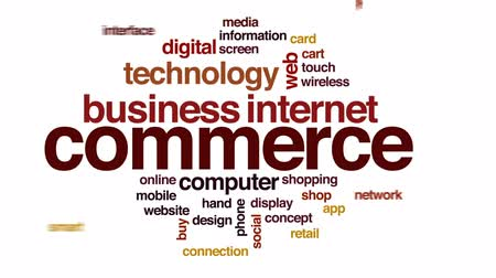 shopping cart : Commerce animated word cloud, text design animation. Stock Footage