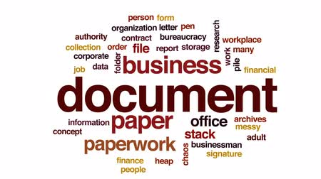 подпись : Document animated word cloud, text design animation. Стоковые видеозаписи