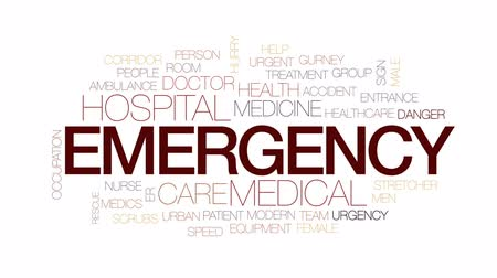 er : Emergency animated word cloud, text design animation. Kinetic typography. Stock Footage