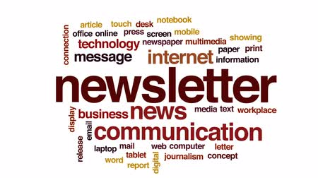 jornalismo : Newsletter animated word cloud, text design animation.