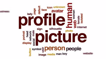 web sayfası : Profile picture animated word cloud, text design animation. Stok Video
